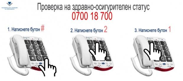 Проверяваме денонощно здравно-осигурителния си статус по телефона